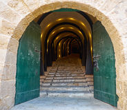 An illuminated Tunnel entrance to the St James Cavalier Centre f Royalty Free Stock Images