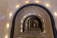 Illuminated tunnel, Malta Stock Images