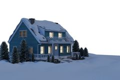 Illuminated turquoise house covered in snow Royalty Free Stock Image