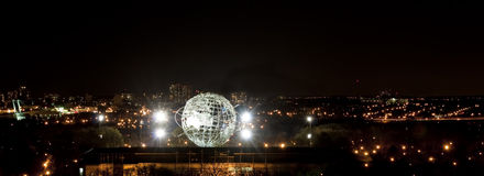 Illuminated Unisphere in Corona Park stock images