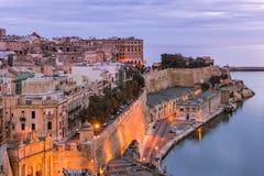 Illuminated Valletta skyline at evening,Malta.  Stock Images
