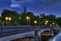 Illuminated vintage bridge. Stock Photo