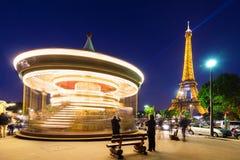 Illuminated vintage carousel close. Royalty Free Stock Images