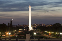 Illuminated Washington monument at night Royalty Free Stock Photo