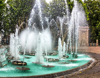 Illuminated water features in front of Palais des Congress in Perpignan, France Stock Photo