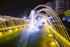Illuminated Water Fountain By Night Royalty Free Stock Image