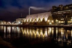 Illuminated waterfront in Sweden Royalty Free Stock Photography