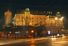Illuminated Wawel Hill in Krakow, Poland Royalty Free Stock Photography