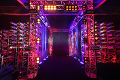 Illuminated way with grid to boxing ring Royalty Free Stock Images