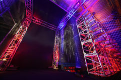 Illuminated way with grid to boxing ring Stock Images