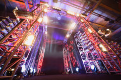 Illuminated way to boxing ring Royalty Free Stock Photography