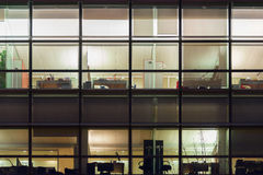 Office from windows by night Royalty Free Stock Photography