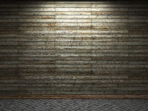 Illuminated wooden wall Stock Photo