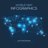 Illuminated world map infographic Stock Images