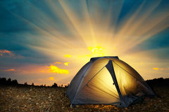 Illuminated yellow camping tent Royalty Free Stock Photo