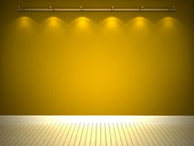 Illuminated yellow wall and white floor Stock Photo