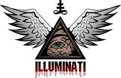 Illuminati. All seeing eye pyramid symbol Stock Photos