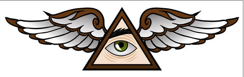 Illuminati Cartoon. Funny symbol of the Illuminati in cartoon style Stock Image