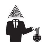 Illuminati conspiracy illustration. Illuminati conspiracy theory illustration. Man in black business suit with All Seeing Eye symbol holding world on strings Royalty Free Stock Image