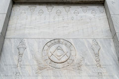 Illuminati Free Mason Symbols in Egyptian style. Free Mason Symbols found in a grave yard with Egyptian style engravings. Free Mason Illuminati Stock Image
