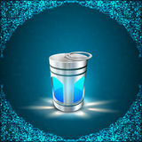 Illuminating Arabic lamp on abstract blue background Stock Image