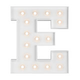 Illuminating E letter. Big illuminating E letter isolated on white background Stock Images