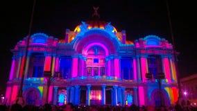 Illuminating palace at night. Mexico City stock images