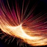 Illumination abstraite de fractale avec les lignes jaunes et rouges illustration de vecteur