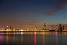 Illumination of Bahrain skyline at sunset Stock Photography