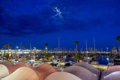 Port of Barcelona illuminated at night, Spain royalty free stock photography