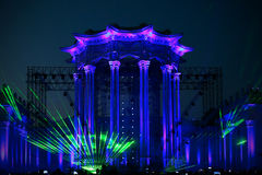 Illumination of the building - light show  in Moscow Stock Images