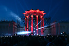 Illumination of the building - light show  in Moscow Royalty Free Stock Image
