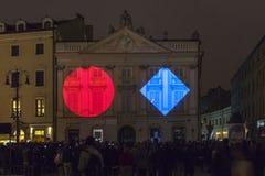 Illumination du bâtiment à Cracovie photographie stock libre de droits