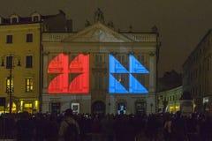 Illumination du bâtiment à Cracovie images libres de droits
