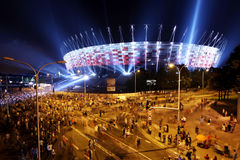 Illumination of the facade National Stadium in Warsaw , Poland Stock Images