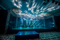 Illumination, light on the stage at the disco Royalty Free Stock Photo