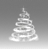 Illumination lights tree  on transparent background. Shiny Christmas tree from the garland.Template design. Christmas fir-tree with sparks.Vector illustration Stock Photo