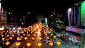 Illumination lumineuse du ` s de nouvelle année à Yangon, Myanmar clips vidéos
