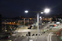 Illumination at night in the harbor of Vigo city with the cars lights in motion Royalty Free Stock Photos