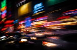 Neon lights on the streets of New York City stock photo