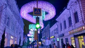 Illumination night street. Night street illumination in Rostov-on-Don, Russia Royalty Free Stock Photography