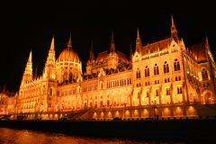 Illumination of the parliament building in Budapest stock photos