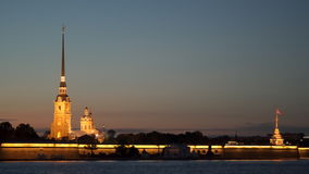 Illumination the Peter and Paul Cathedral located inside the Peter and Paul Fortress stock video