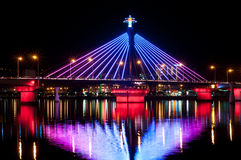 Illumination at Song Han Bridge. Song Han Bridge in Danang in many lights. The area around the bridge is the location of Da Nang's cultural center Stock Photography