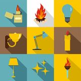 Illumination source icon set, flat style Stock Images