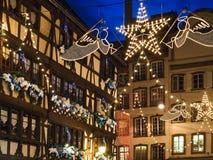 Illumination during Xmas fair in Strasbourg stock image