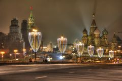 Illuminations on the Bolshoy Moskvoretsky Bridge. MOSCOW, RUSSIA - December 29.2017: Christmas illuminations on the Bolshoy Moskvoretsky Bridge royalty free stock photo