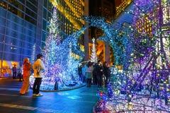 Illuminations light up at Caretta shopping mall in Odaiba, Tokyo. TOKYO, JAPAN - NOVEMBER 27 2015: Illuminations light up at at Caretta shopping mall in Shiodome stock image