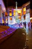 Illuminations light up at Caretta shopping mall in Odaiba, Tokyo. TOKYO, JAPAN - NOVEMBER 27 2015: Illuminations light up at at Caretta shopping mall in Shiodome royalty free stock photography