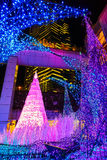 Illuminations light up at Caretta shopping mall in Odaiba, Tokyo. TOKYO, JAPAN - NOVEMBER 27 2015: Illuminations light up at at Caretta shopping mall in Shiodome royalty free stock image